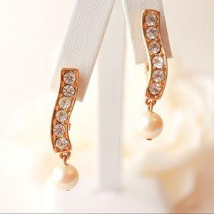 Vintage Monet Earrings Crystal Pearl Gold Bridal
